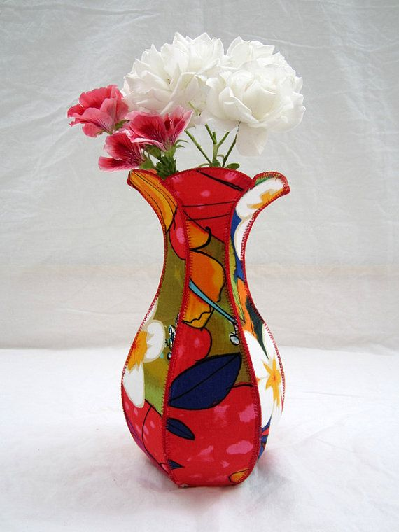 Plumeria Curvy Fabric Vase Tropical Jungle Hawaii Flowers Etsy In 2020 Coiled Fabric Basket Fabric Boxes Free Motion Embroidery