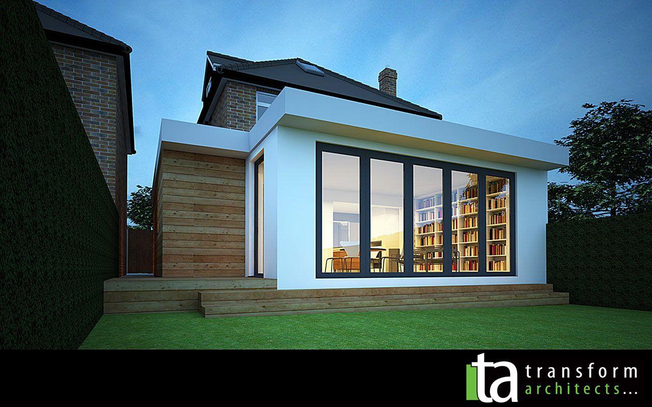 Contemporary single storey grass roof extension | Transform ...