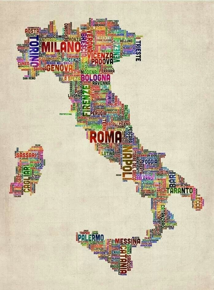 Italy Map Wall Art.Italy In Words Interesting Maps Of Italy Italy Italy Map Italia
