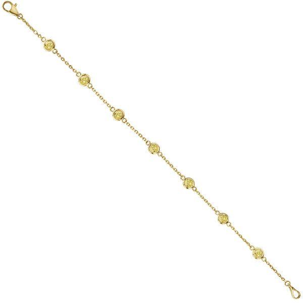 Allurez Yellow Diamonds by The Yard Bezel-Set Bracelet 14K Y Gold... ($2,330) ❤ liked on Polyvore featuring jewelry, bracelets, 14k yellow gold jewelry, fancy jewellery, yellow diamond jewelry, yellow gold jewelry and 14k bangle