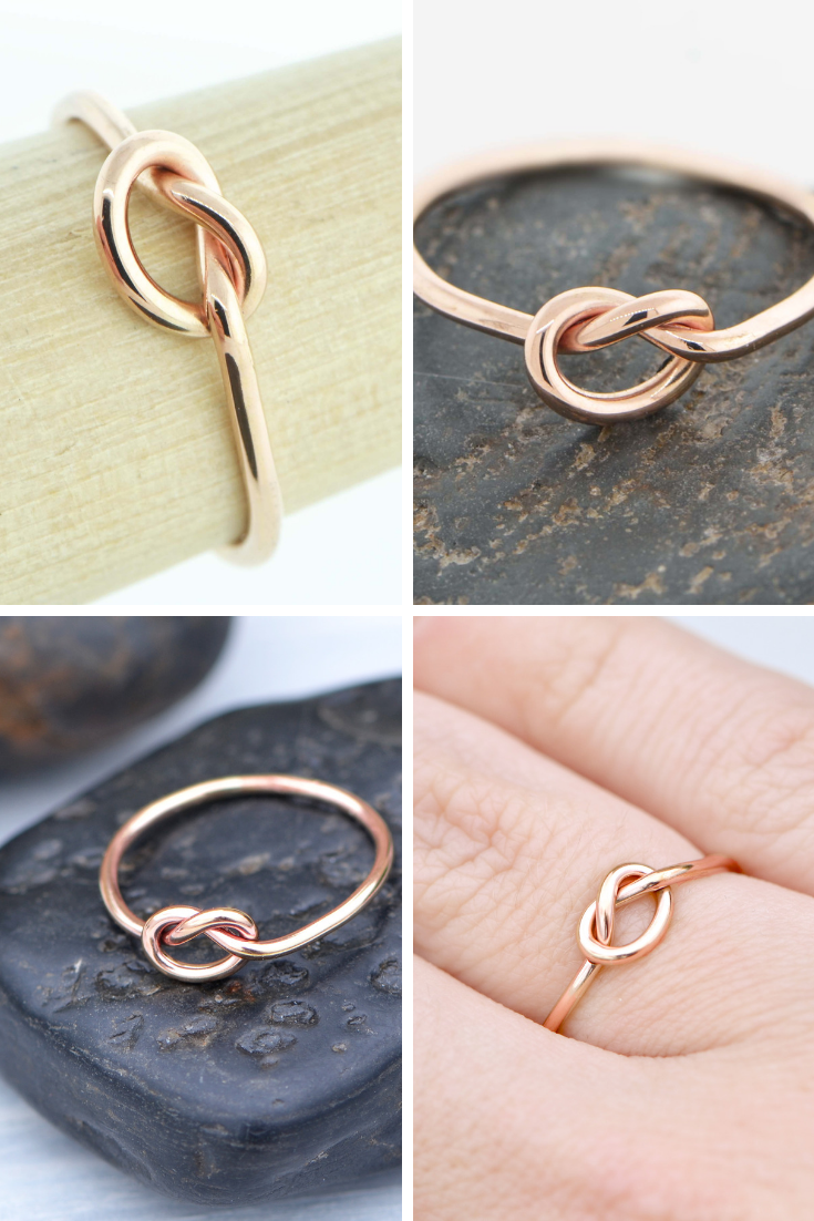 14k Rose Gold Ring Gold Love Knot Ring Simple Promise Ring Etsy Love Knot Ring Knot Ring Rose Gold Knot Ring