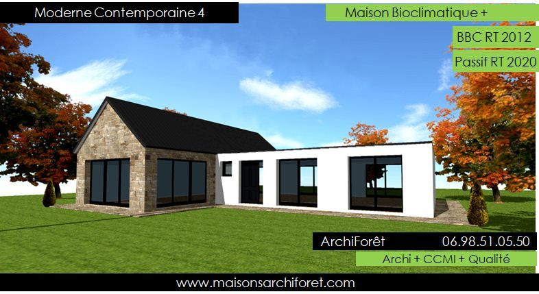 Plan et photo maison plain pied en l ou plein pied en rez de chaussee rdc par votre architecte for Architecte constructeur