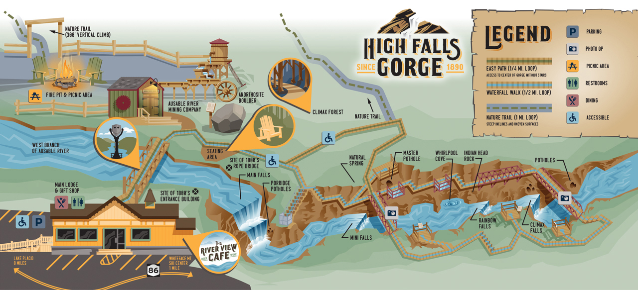 Lake Placid New York Map.Trail Map For Hiking Walking Wheelchairs And Strollers At High