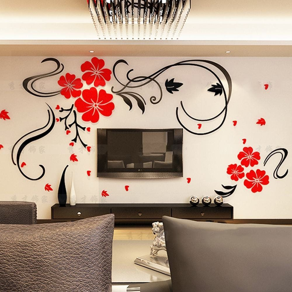 amazon com alicemall red flower tv wall sticker acrylic red amazon com alicemall red flower tv wall sticker acrylic red blossom floral 3d wall