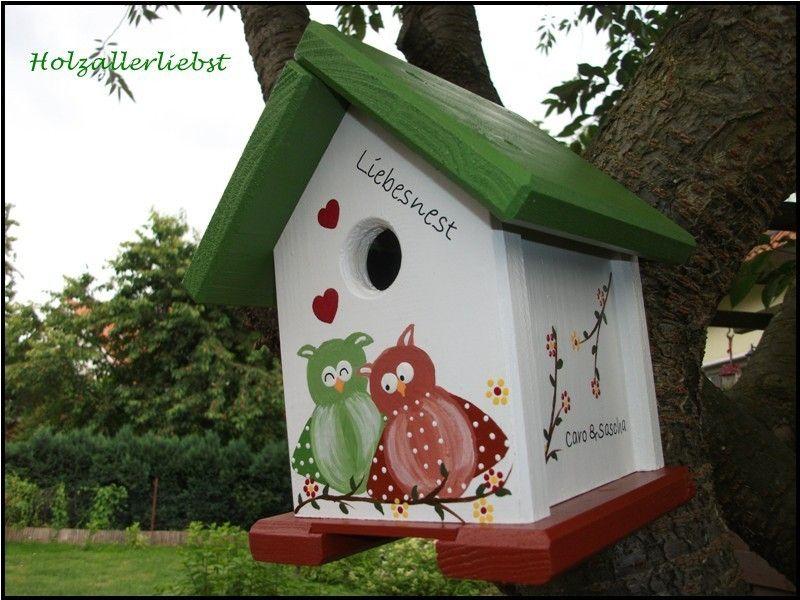 vogelhaus eulenpaar individualisiert hochzeit von holzallerliebst auf. Black Bedroom Furniture Sets. Home Design Ideas