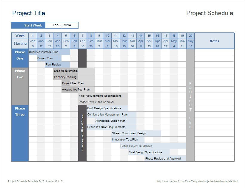 download this project schedule template to create a simple timeline