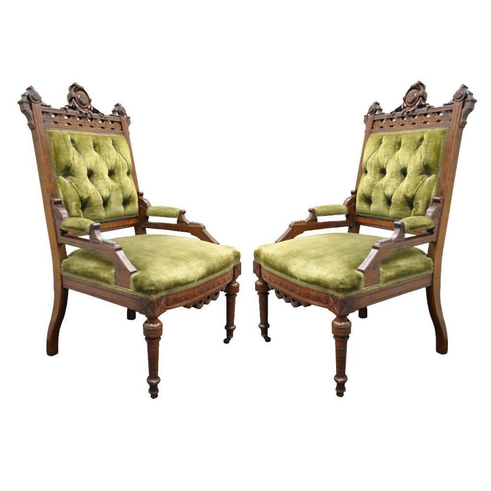 pair antique victorian eastlake inlaid carved walnut fireside parlor arm chairs