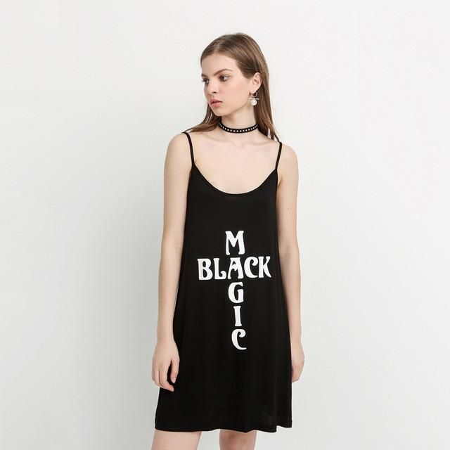 Black Cross Letter Print Halter Dress