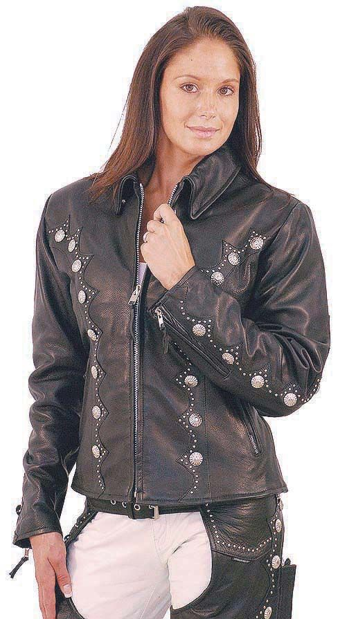 Women/'s Motorcycle Premium Soft Cowhide Leather Vest With Studs and Concho