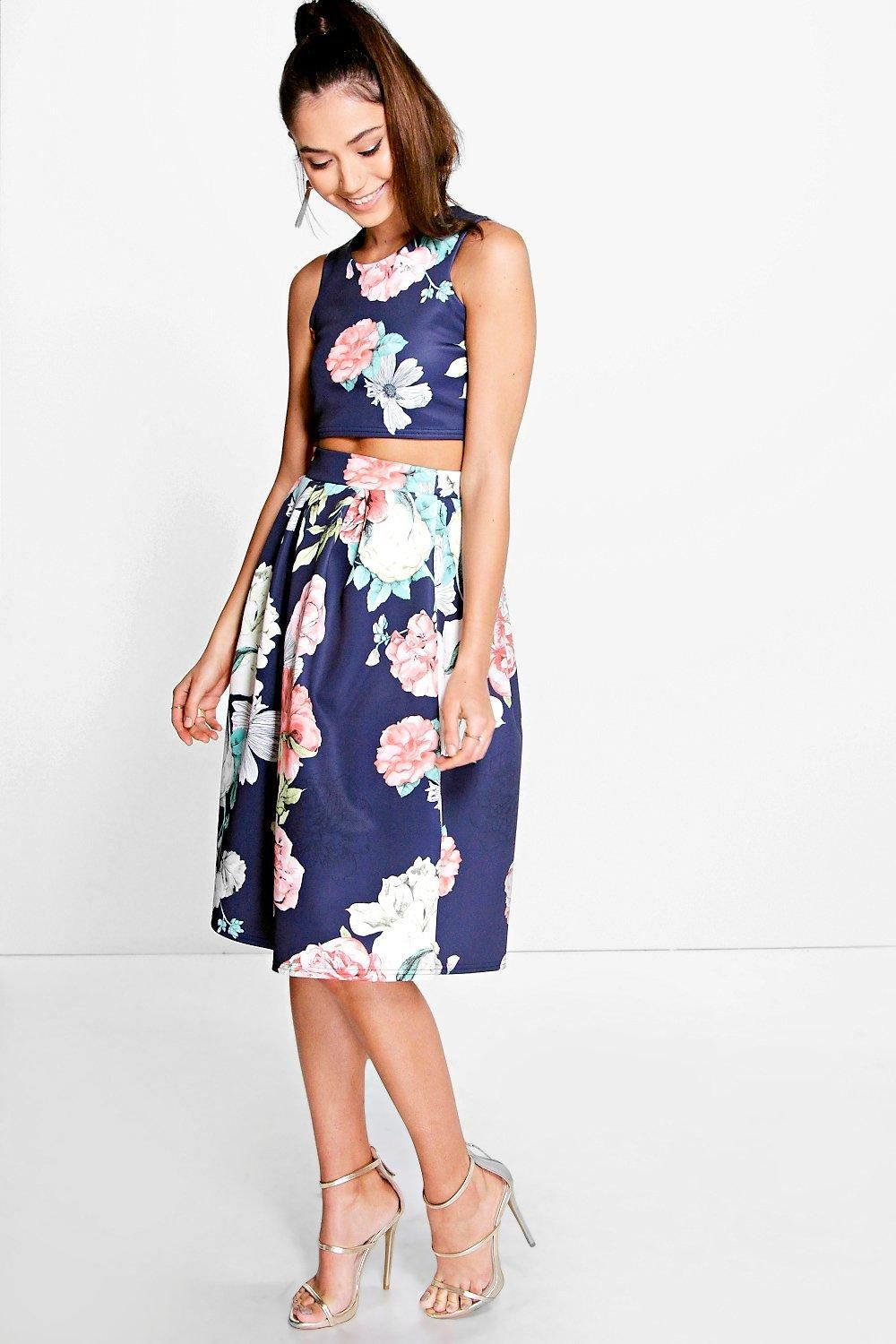 Visa Floral Box Pleat Midi Skirt Co-Ord Set | Midi skirts, Box ...