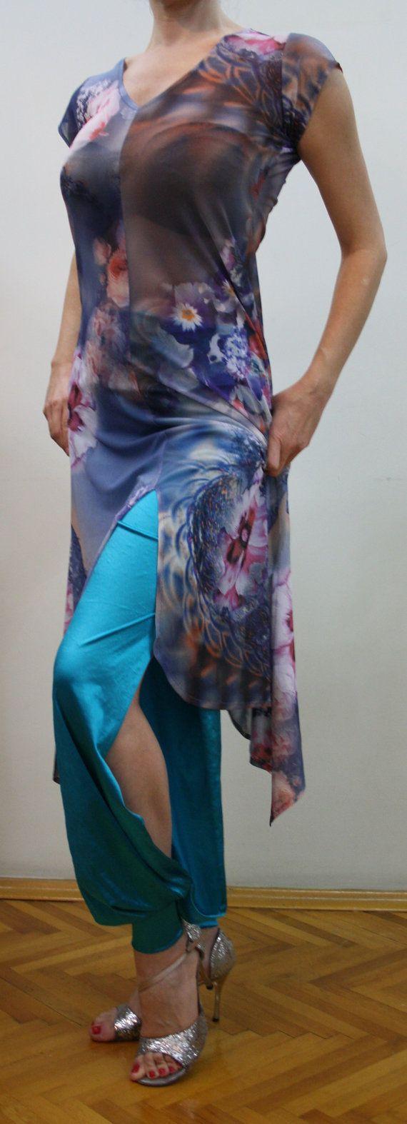 Purple flowering silk tulle tango dress with slits. by MELEKYAGCI, €95.00