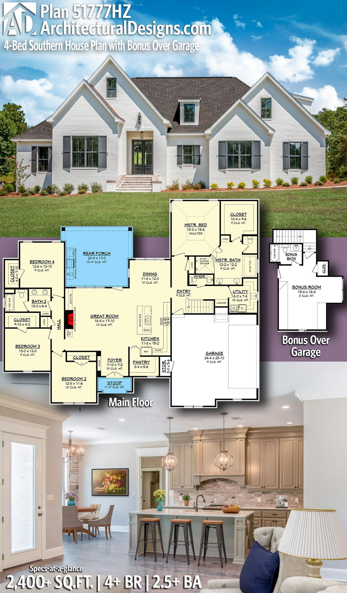 Plan hz bed southern house plan with bonus over garage