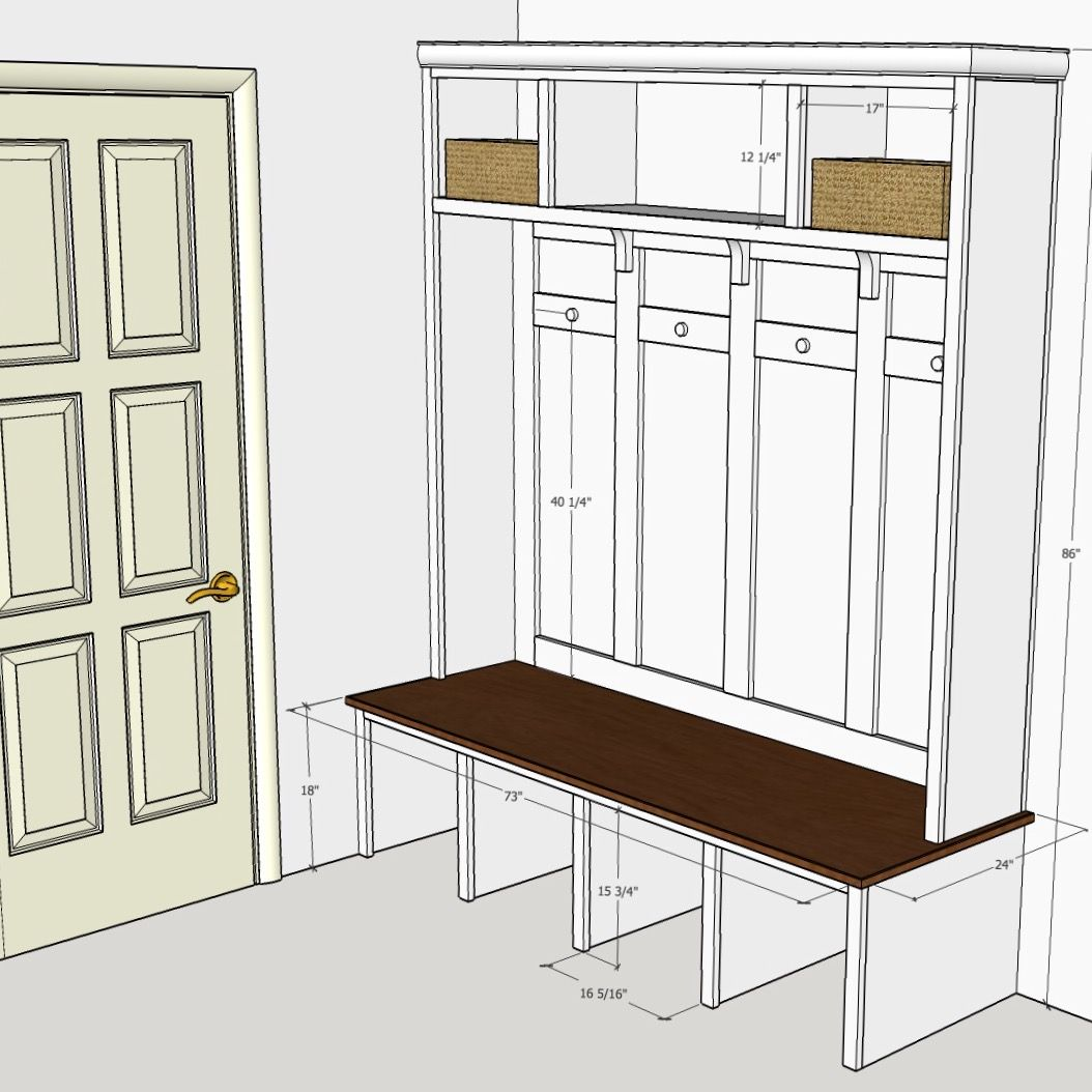 Mudroom Locker Plan Created By Sean Duggan Using Sketchup Mudroom Lockers Diy Mudroom Bench Mudroom Design