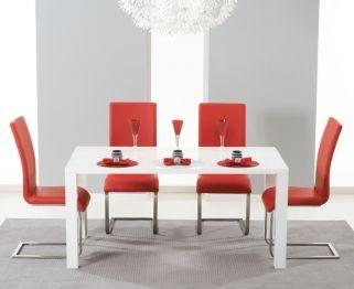 Mark Harris Hereford White High Gloss Dining Table And 4 Malibu