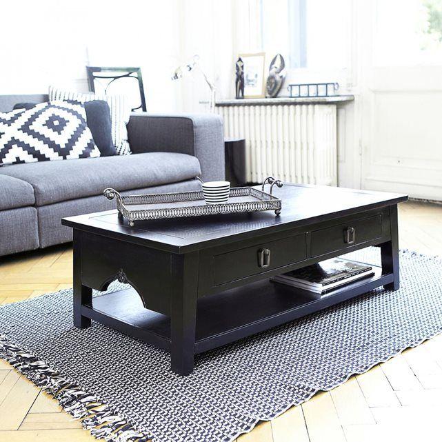 Table Basse En Bois D Acajou Noir 100x60 Thaki Black