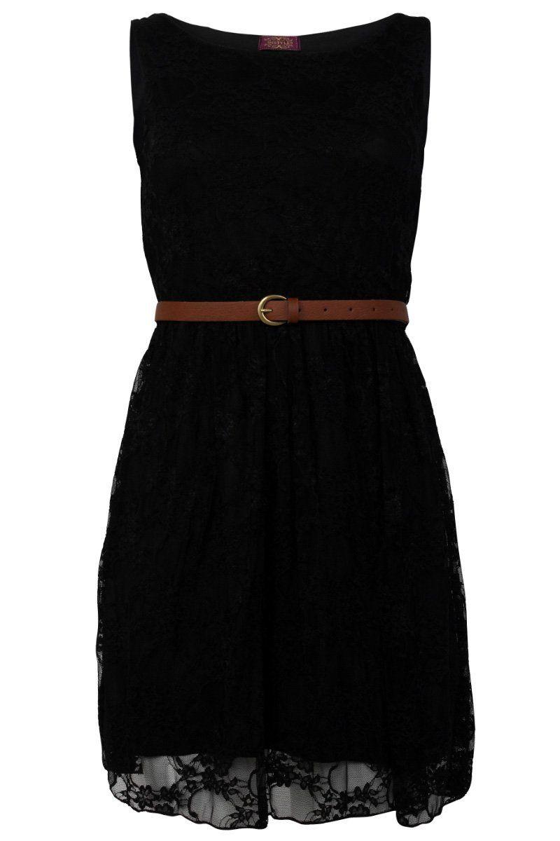 78cec82aa6d9 90Z New Womens Black Party Lace Belt Skater Skirt Smart Dress Size 12 14