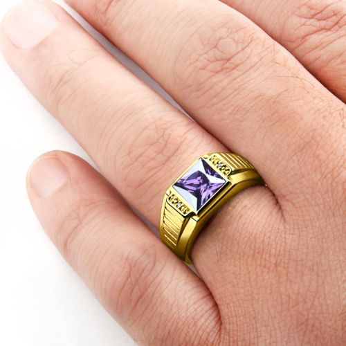 Mens Amethyst Ring REAL 14K SOLID GOLD with GENUINE DIAMONDS Fine