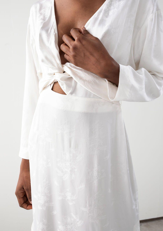 5f5085898d9c Floral Jacquard Overlapping Midi Dress - White - Midi dresses - & Other  Stories