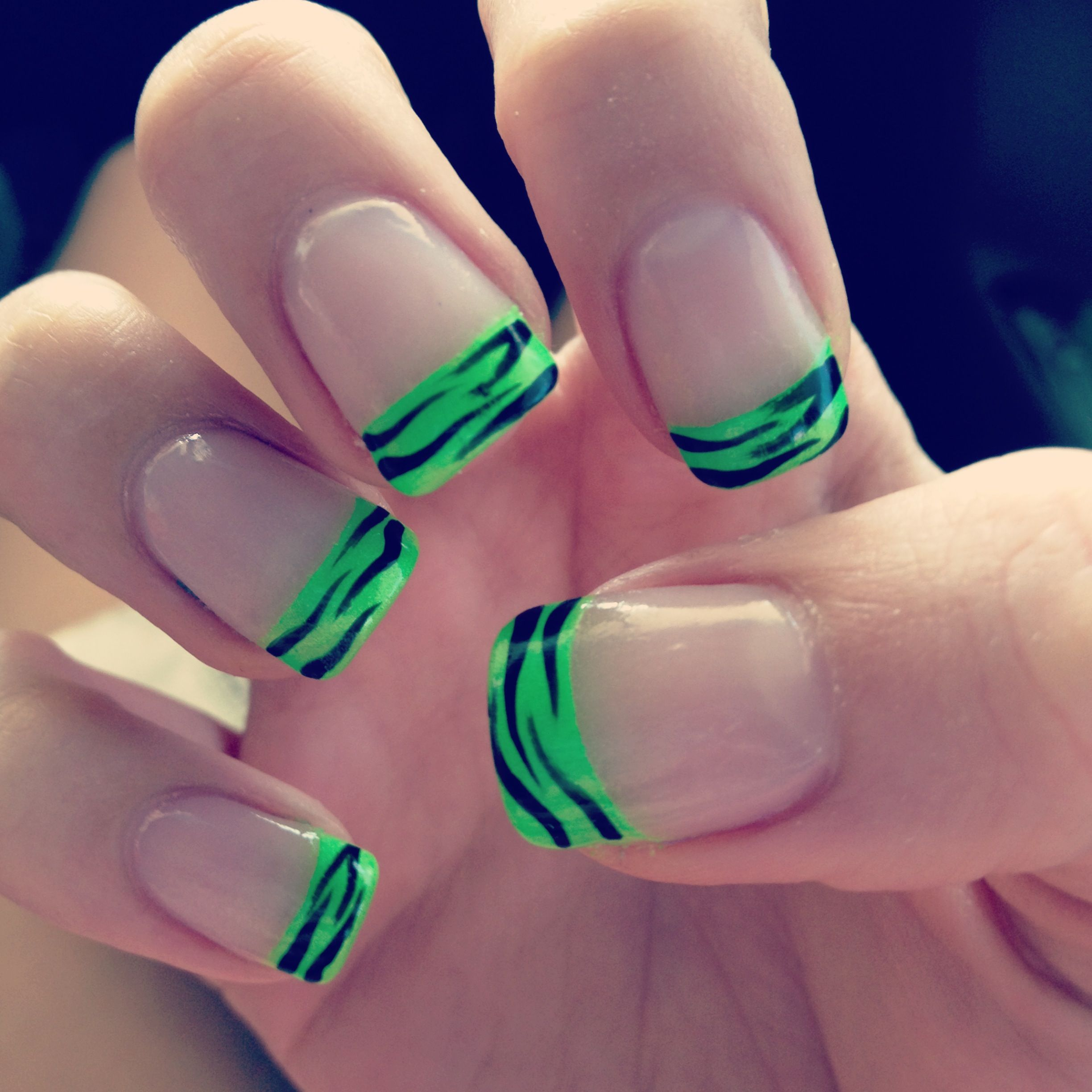 Neon French Tip Nail Designs: Neon Green Zebra French Manicure!