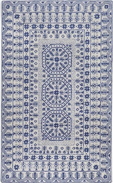 Smithsonian Collection New Zealand Wool Area Rug In Dark Slate Blue An
