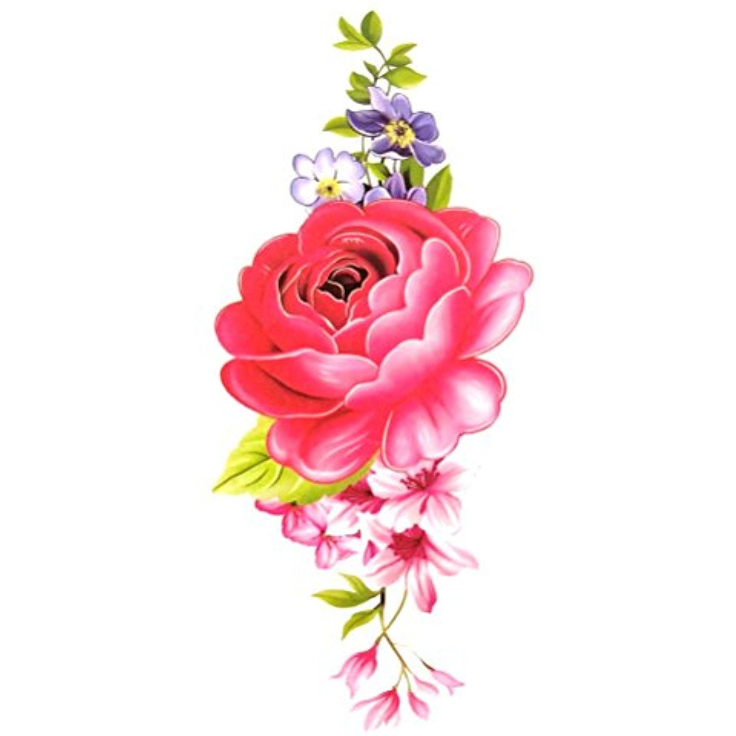 Oottati Women Floral Arm Chest Temporary Tattoo Flower (2