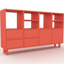 Highboard Rot – Highboard: Schubladen in Rot & Türen in Rot – Hochwertige Materialien – 156 x 91 x 3