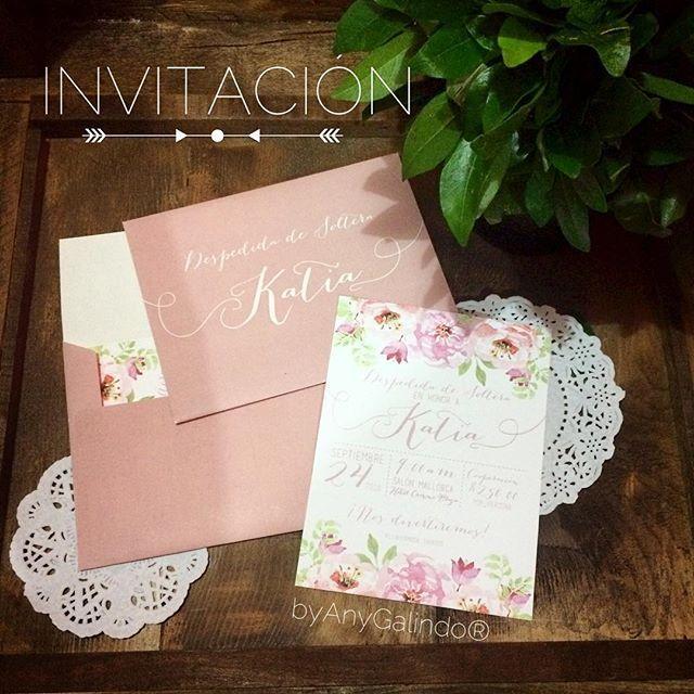 Lindas invitaciones para despedida de soltera Katia en tonos rosas…