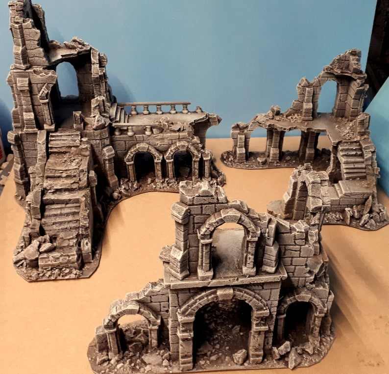 Ancient Ruin Set - fantasy Wargaming Terrain - Age of Sigmar - L0TR - Osgiliath - Frostgrave - Wargames Scenery #wargamingterrain Fantastic set, great addition to any table. Set of 3 ruins that would work great for Lord of the rings, frostgrave , age of sigmar or any fantasy wargames great as stand alone or can be placed closer together to cover roughly 2ft x 2ft of table space Want some customisation to fit your table no problem we can do that, happy to add grass, snow, paint variations etc