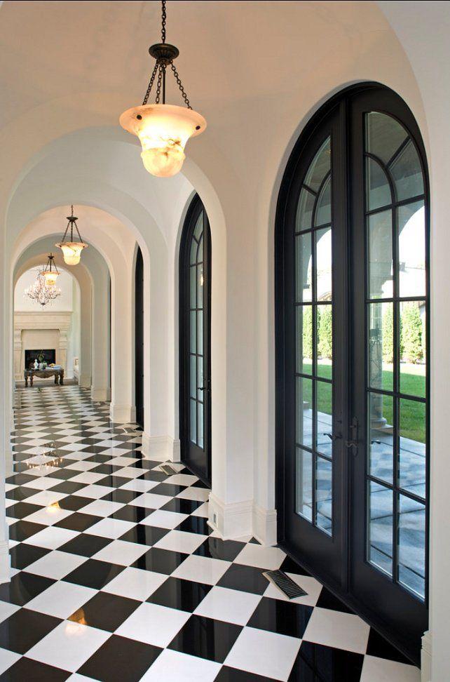 25 Classy and Elegant Black & White Floors #whitemarbleflooring