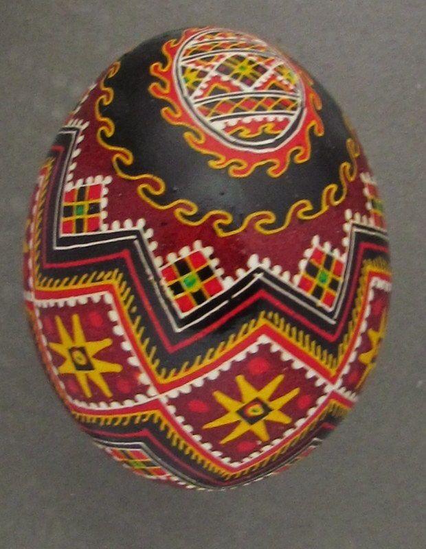 Pysanka,Real Ukrainian Easter Egg Hen Chicken Shell,Geometric Design, P62