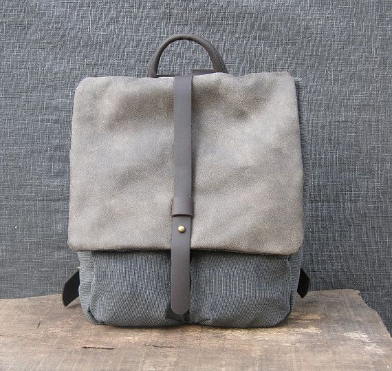 de71a52520fbc1 Gray #Backpack, Heavy Cotton and Leather, Small Backpack, Rucksack