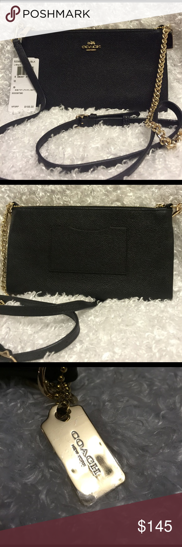 """Coach crossbody New   3 card slots, with inside pocket. Has a card holder on the back.  Gorgeous bag! 9""""x5"""" Coach Bags Crossbody Bags"""
