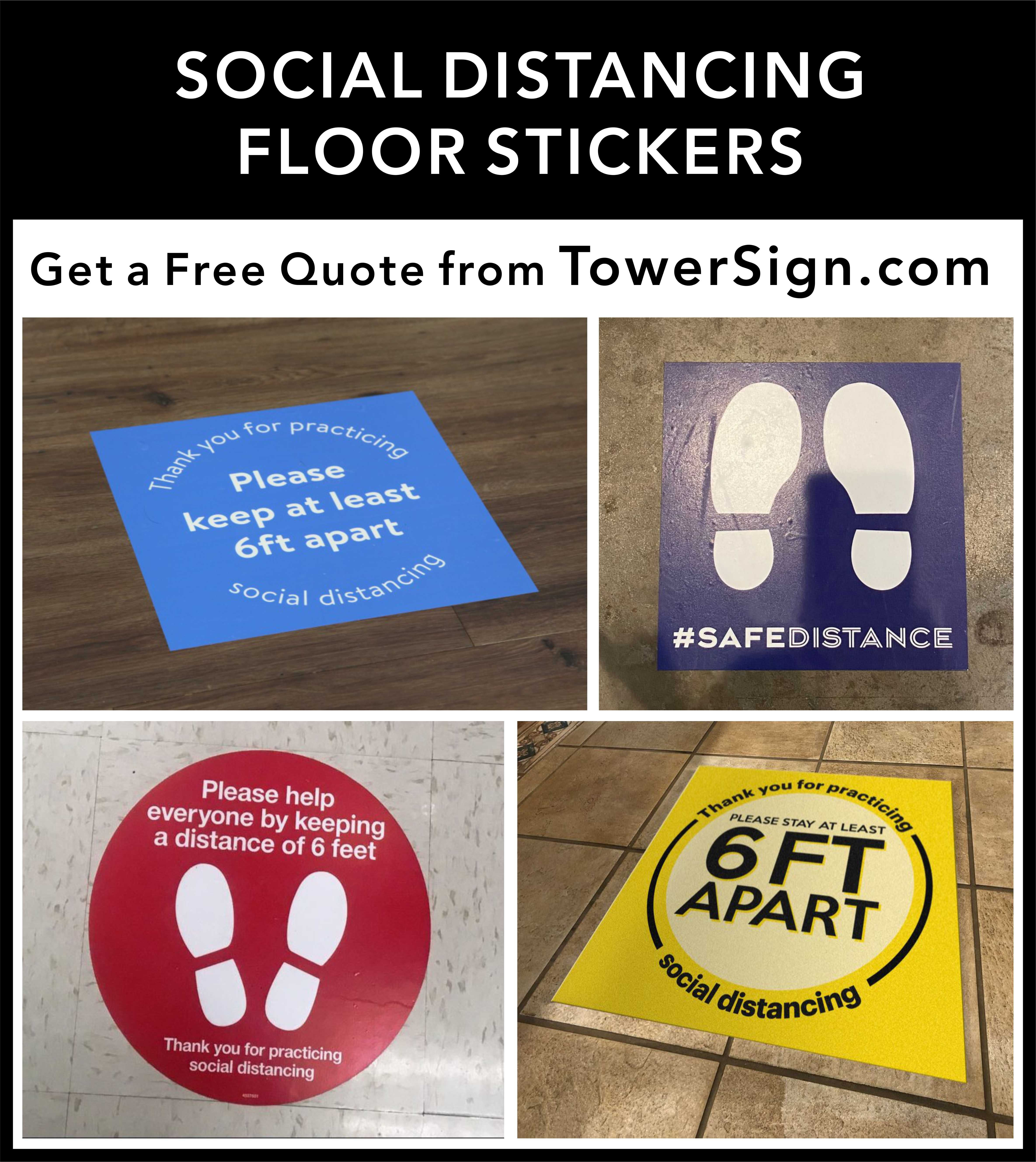 Social Distancing Floor Stickers Floor Stickers Custom Awnings Storefront Glass