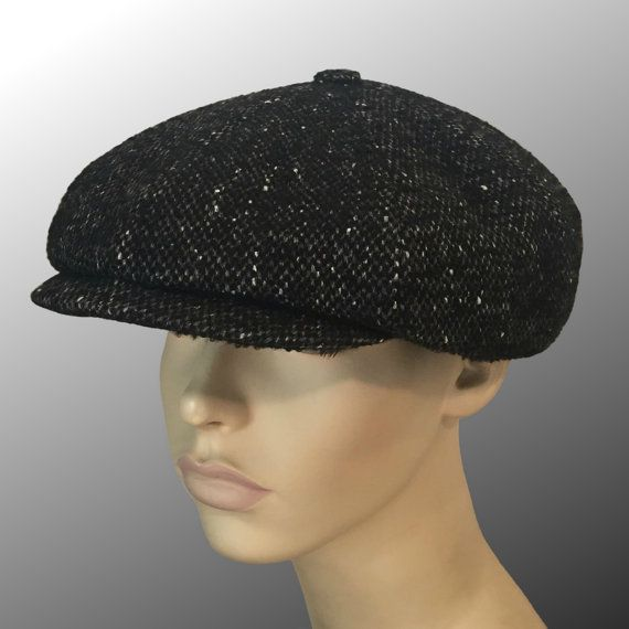 Shelby Peaky Blinders Bakerboy Paperboy Newsboy Cap Hat Retro Tweed  Charcoal Grey Black Bespoke Large Any Size XL Custom Made 5018b732310