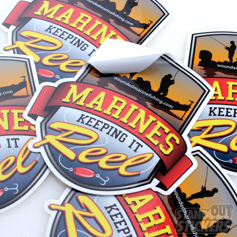 WOUNDED MARINE FISHING CUSTOM DIE CUT STICKERS Die Cut Stickers - What are custom die cut stickers