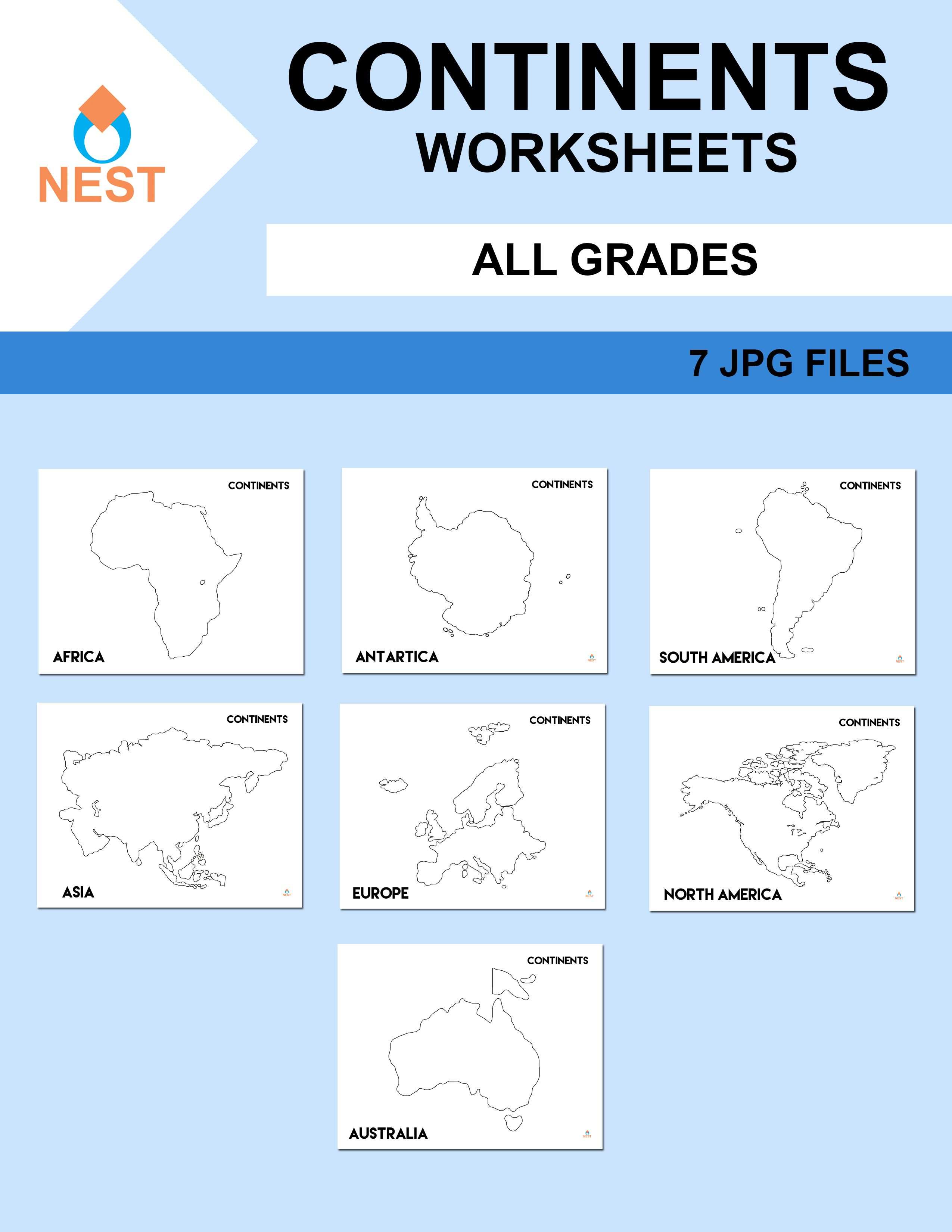 Continents Worksheets Con Imagenes