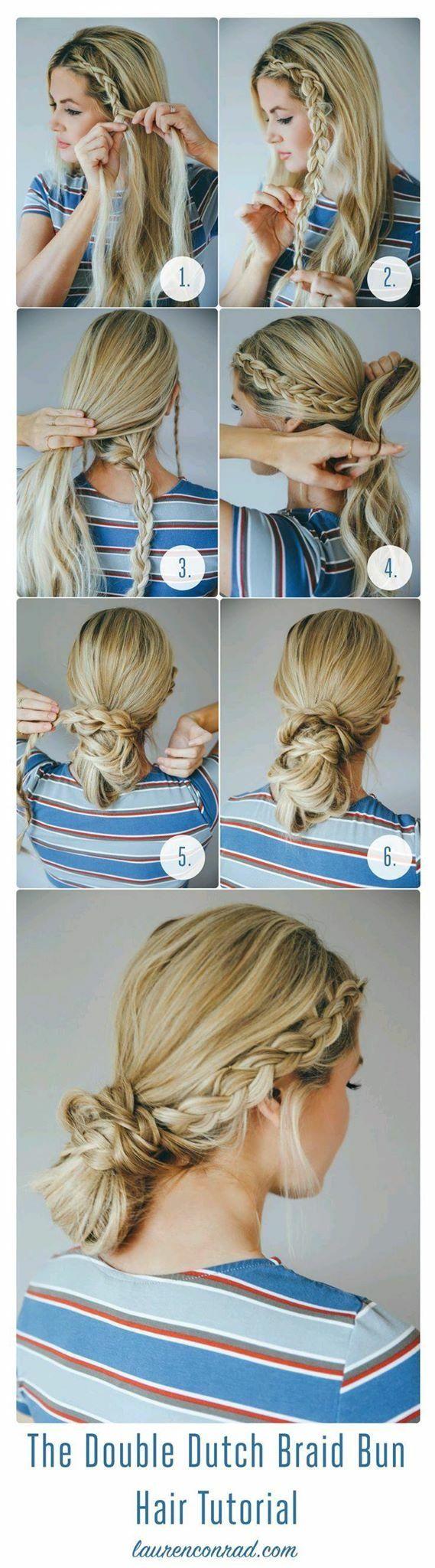 Double dutch braid bun cute braids easy hairstyles quick updo
