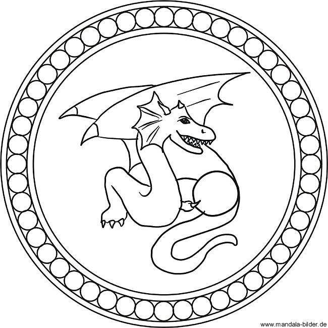 Drache - Mandala Ausmalbild Drachen ausmalbilder