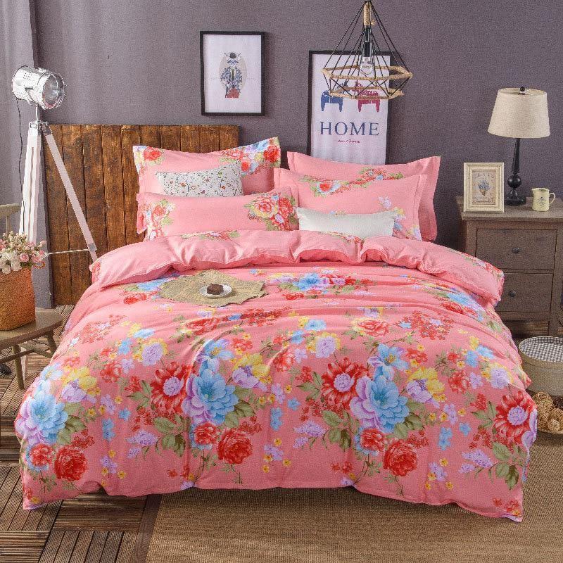Pink Flower,Autumn Winter Christmas Bed Linen Comforter Bedding Sets
