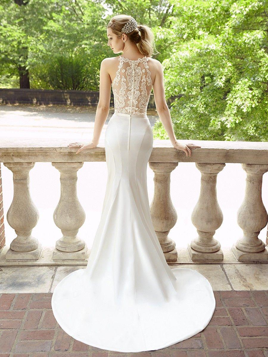 Crepe back satin trumpet bridal skirt style s2021