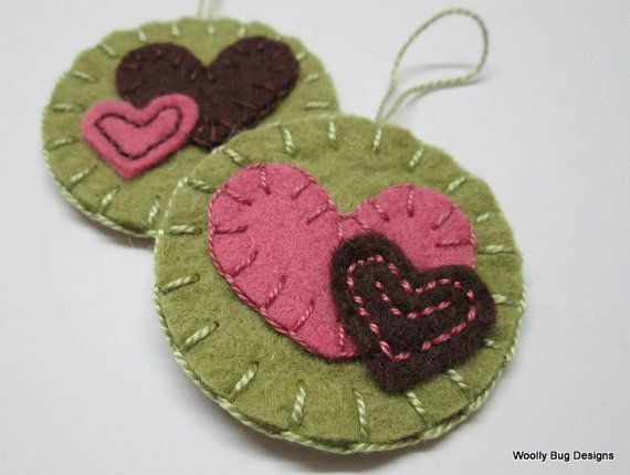 Wool Felt Hearts Set of 2 Ornaments Pink Brown by WoollyBugDesigns
