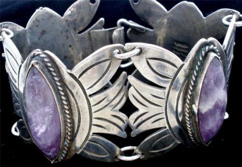 "Early Mexican Amethyst Vintage Bracelet Sterling Silver Gemstone Wide 7"" Long | eBay"
