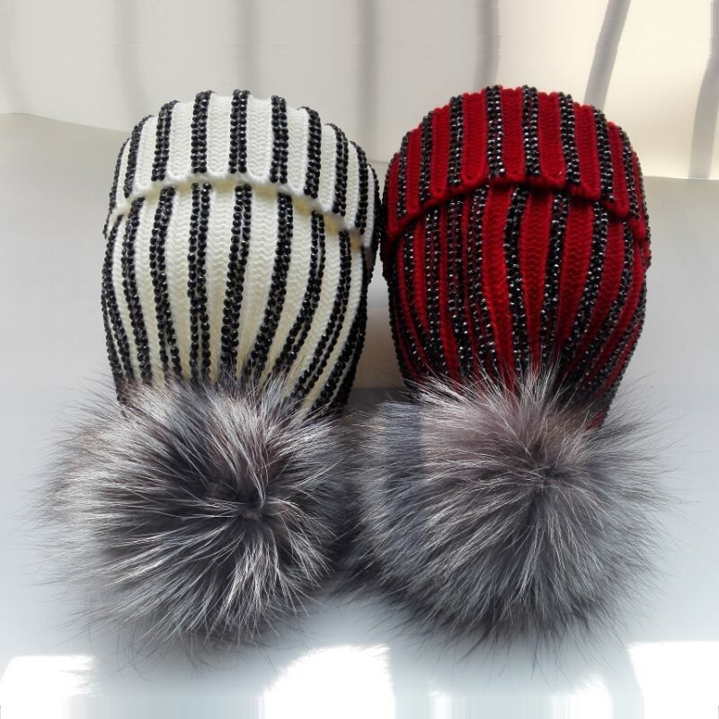d74958910ef Luxury Silver Fox Fur Pom poms Knitted Beanies Skullies Winter Acrylic  Women s Fur Hats Caps Black