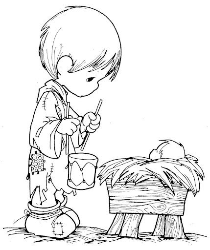 Fun Coloring Pages: boy with a drum Precious Moments