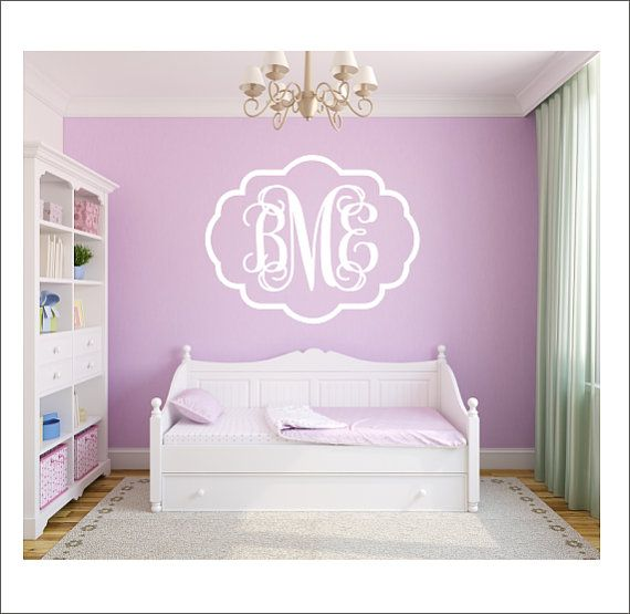Vine Monogram Decal Large Vinyl Wall Decal Interlocking Swirly - Monogram vinyl wall decals for boys