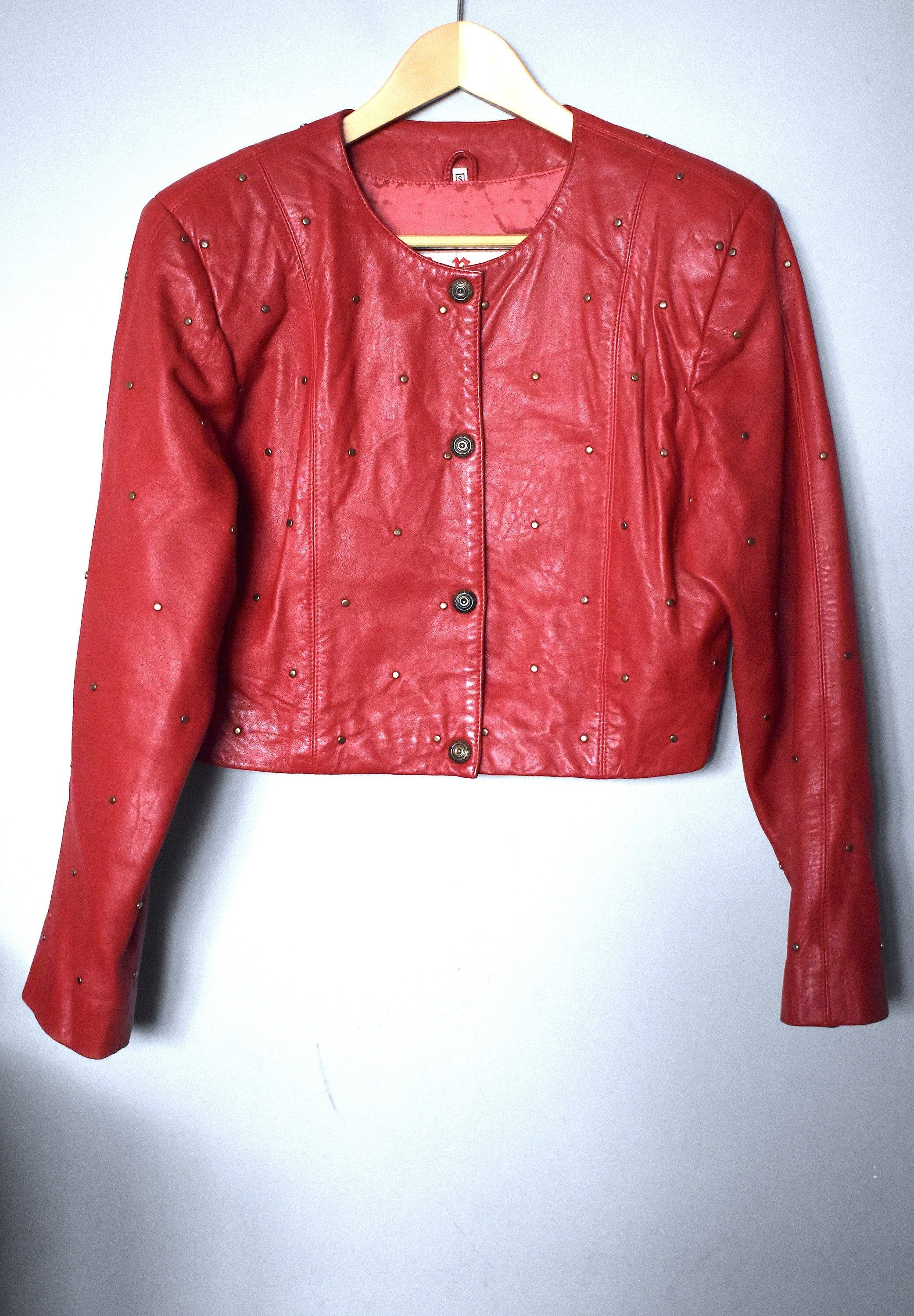 Vintage 90 S Cropped Red Leather Jacket Bedazzled Leather Jacket Short Leather Jacket Button U Short Leather Jacket Red Leather Blazer Cropped Jacket Outfit [ 3000 x 2083 Pixel ]