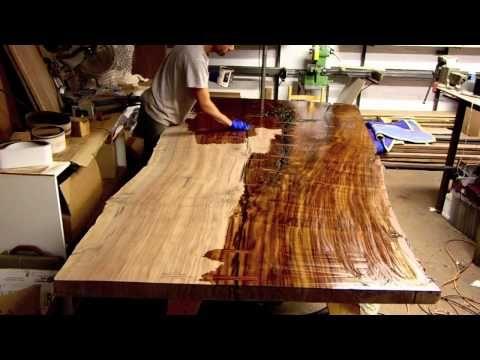 Finishing A Massive Claro Walnut Slab Table Live Edge   YouTube