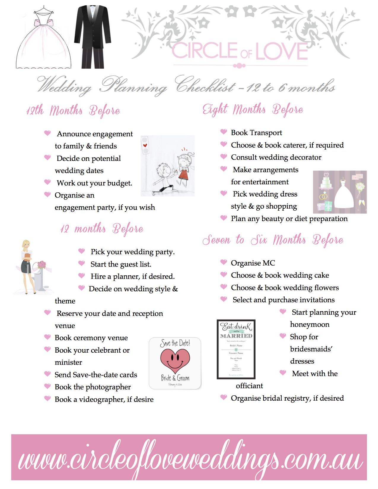 1 Wedding Planning Checklist 12 To 6 Months Before Our Free Timeline Checklists Created By Www Circleofloveweddings Au