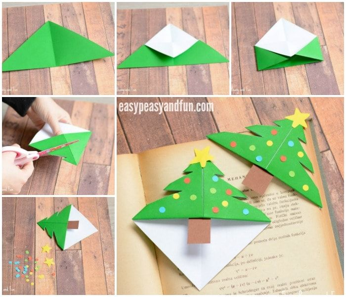 Christmas Tree Corner Bookmarks Origami For Kids Simple Paper