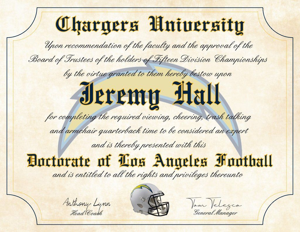 Los Angeles Chargers Ultimate Football Fan Personalized Diploma Perfect Gift 8 5 X 11 Parchment Paper Football Fans Los Angeles Chargers What Team